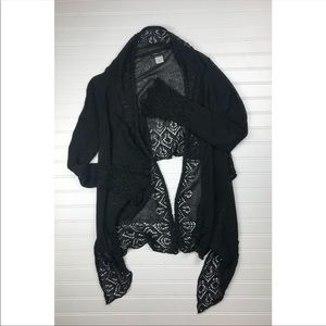 BCBGMazAzria hi low black woven wrap cardigan